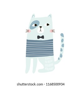 Cute cat childish print. Perfect for t-shirt, apparel, cards, poster, nursery decoration. Vector Illustration