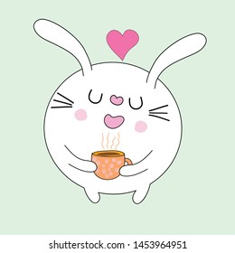 cute  cat with coffee  cartoon vector eps.10