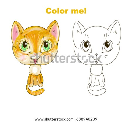 Cute Cat Coloring Page Stock Vector Royalty Free 688940209