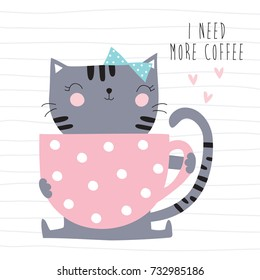 cute cat with a cup of coffee vector illustration