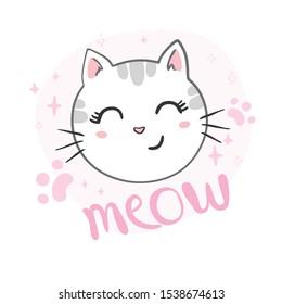 Cute cat design. Children illustrations for children's clothing.