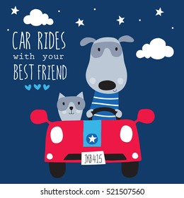 cute cat and dog in the car vector illustration