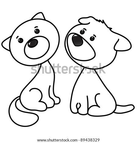 Cute Cat Dog Cartoon Line Art Stock Vector (Royalty Free ...