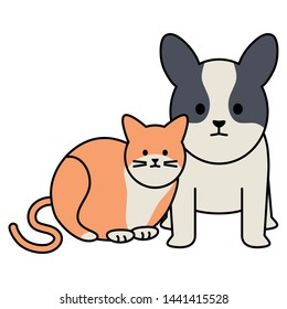 cute cat and dog mascots adorables characters