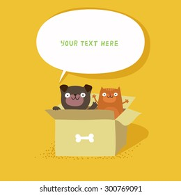Cute cat and dog sitting in cardboard box, banner with speech bubble. Homeless cat and dog. Vector colorful illustration isolated on yellow