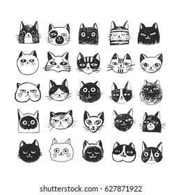 Cute cat doodle set, sketch line icons.  Pets hand drawn characters for poster, placard, postcard design, ad, t-shirt.