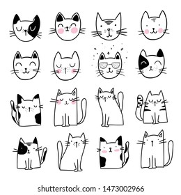 Cute Cat Doodle style illustrations. Set of Funny hand drawn cats.