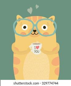 Cute cat drinking coffee.T shirt Graphic.Animal cartoon character. Vector design.