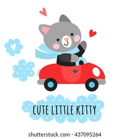Cute cat driver on car. Children's illustration with a cat.