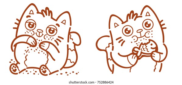 Cute Cat: eater, ate too much, gourmand, loves to eat, with big belly and crumbs and eating food, chew, hungry emotion, holding cookie. Character as mascot, sticker, emoji in outline hand drawn style