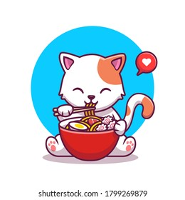 Cute Cat Eating Noodle With Chopstick Cartoon Vector Icon Illustration. Animal Food Icon Concept Isolated Premium Vector. Flat Cartoon Style