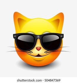 Cute cat emoticon, emoji, smiley wearing sunglasses - vector illustration