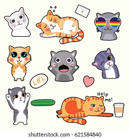 Cute Cat Emoticons - Stickers - Vector