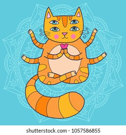 Cute cat with for eyes in a buddha pose doing yoga asana.