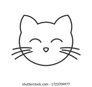 Cute cat face line icon. Vector illustration.