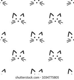 Cute cat face pattern. Vector illustration