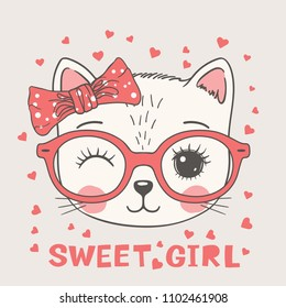 Cute cat face with pink glasses. Sweet girl slogan. Hand drawn vector illustration