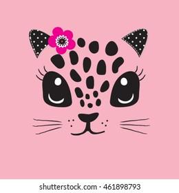 cute cat face, T-shirt design for kids vector illustration