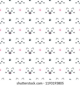 cute cat faces on white background