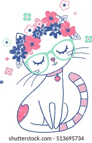 Cute Cat with Floral Crown Vintage Illustration