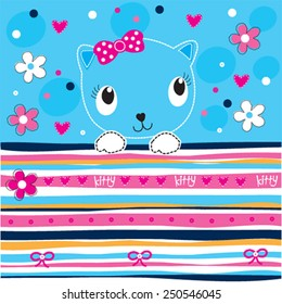 cute cat with flowers striped background vector illustration