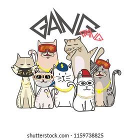 Cute cat gang with hand drawn cartoon. Hip Hop style