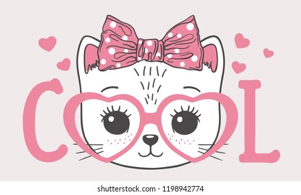 655ea1b1ef Cute cat girl face with pink heart glasses. Cool slogan. Vector  illustration for children