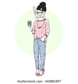 cute cat girl hipster with coffee, furry art illustration, fashion animals