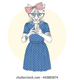 cute cat girl hipster with mobile phone, furry art illustration, fashion animals