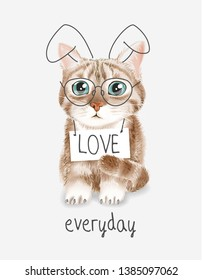 cute cat in glasses and bunny ears with love sign hanging on neck illustration
