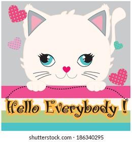 Cute Cat, hand draw animal, cartoon character, cat vector, t-shirt print, kid graphic