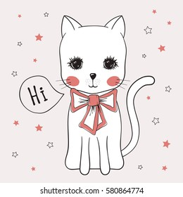 Cute cat, hand drawn illustration little kitty with bow