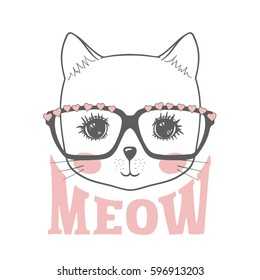 Cute cat. Hand drawn portrait little kitty with glasses