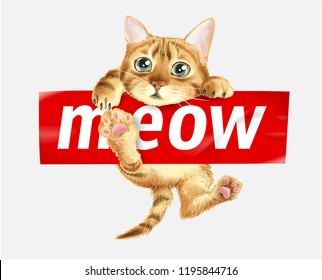 cute cat hanging on meow sticker illustration
