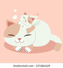 Cute cat for Happy Mother's day card.Sweet cards for Mothers Day.A kitten and cat mom (Mother) cat .kitten with cat mom.kitten smiling.pink heart.cute flat vector style