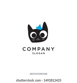 cute cat with hat illustration vector logo template. eps10