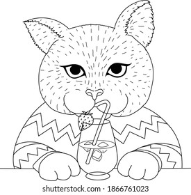 Cute cat having drink at the bar, design for coloring book, coloring page or print on things. Vector illustration