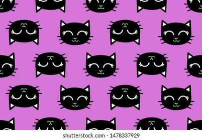 cute cat head, seamless pattern, simple vector illustration