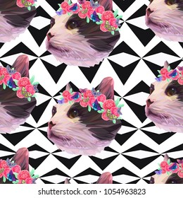Cute cat heads, flowers and butterflies on geometrical background, seamless vector pattern