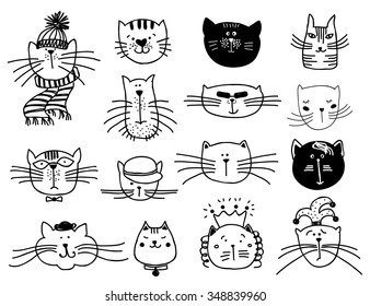 Cute cat heads set in hand drawn. Pet animal vector illustration