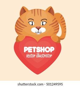 cute cat and heart pet shop concept icon design