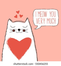 cute cat with heart and speech bubble with quote, valentine's day card, save the date card