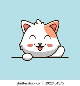 Cute cat holding blank sign cartoon illustration