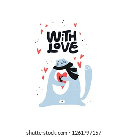 Cute cat holding heart vector color character. Valentine's Day hand drawn lettering. With love romantic quote. Scandinavian illustration. Romance and dating holiday greeting card, poster design