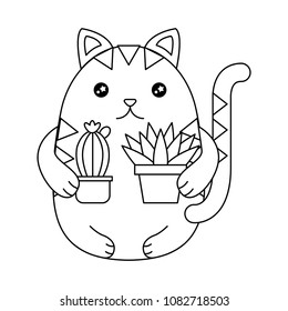 cute cat with house plant kawaii character