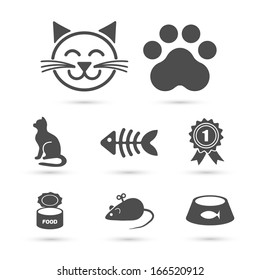 Cute cat icon symbol set on white. Vector element