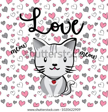 Cute Cat Illustration Hand Draw Animal Stock Vector Royalty Free