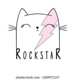 Cute cat illustration. Rockstar. Grunge star with lettering. Tee print design template.Animal print.