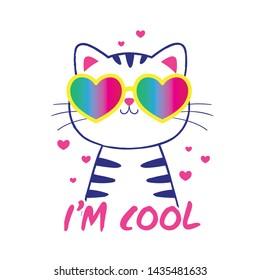 cute cat illustration as vector for kids fashion