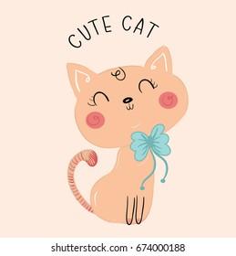 cute cat illustration vector for kids print tee